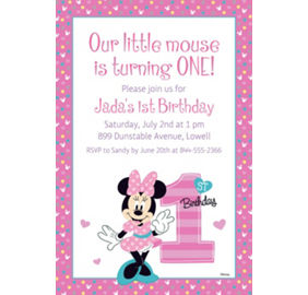 custom minnie s 1st birthday photo invitation minnie mouse 1st