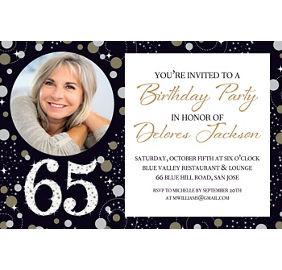 Custom Sparkling Celebration 65th Birthday Photo Invitation