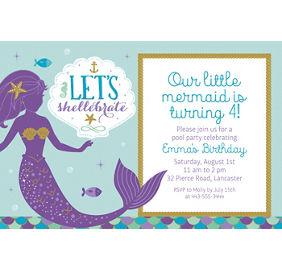 custom mermaid wishes photo invitation party city