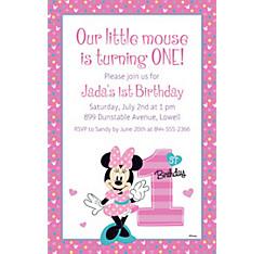 Custom 1st birthday invitations party city custom minnies 1st birthday invitation stopboris Gallery