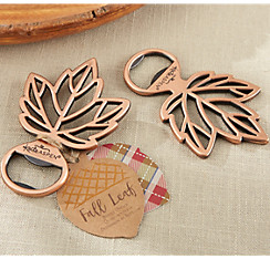 Fall wedding favors party city copper leaf bottle opener junglespirit Image collections