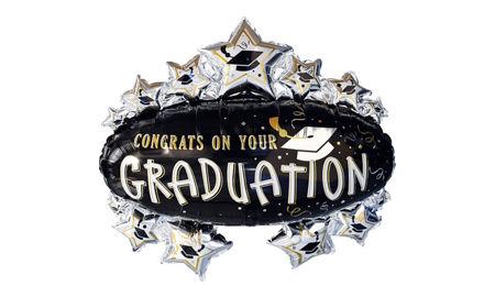 congrats grad black gold silver graduation spray centerpiece 18in