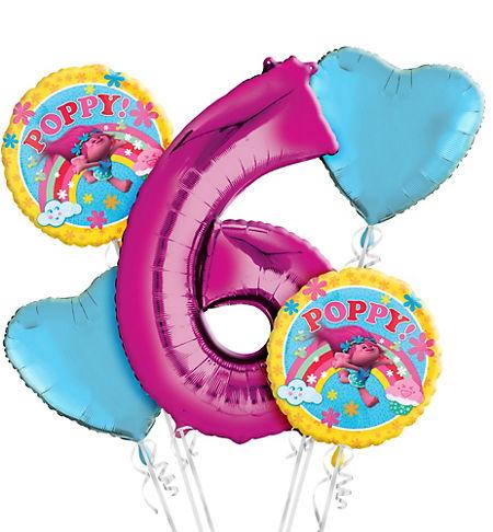 Trolls 6th Birthday Balloon Bouquet 5pc