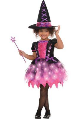 Kids Girls Cute Rainbow Glitter Witch Fancy Dress Halloween Costume Outfit