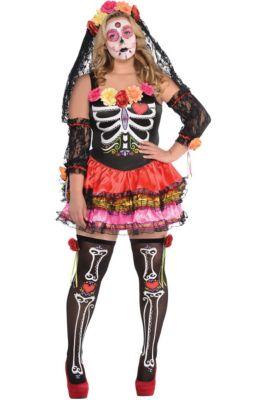 adult day of the dead senorita costume plus size