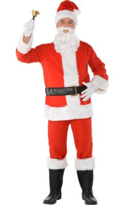 dac81ee30 Adult Flannel Santa Suit Costume Kit