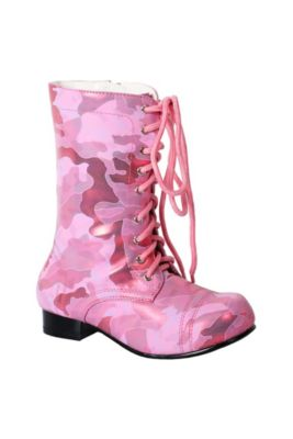 343101f1879 Girls Pink Viva Combat Boots