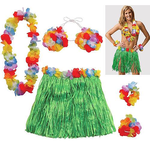 55e01b4a5a46 Adult Large Hula Skirt Kit 5pc