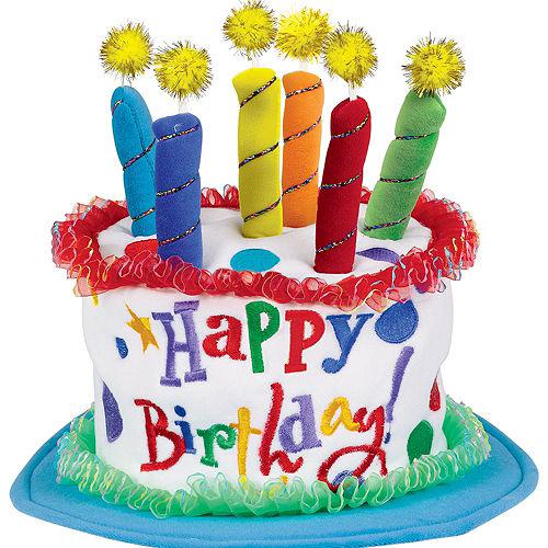 Plush Blue Birthday Cake Hat