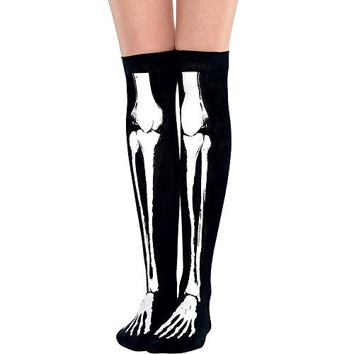 c19a0c58b0d Black Bone Over-the-Knee Socks - Skeleton