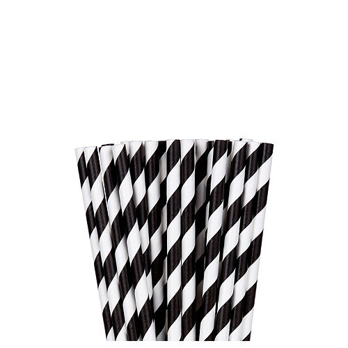 Black Striped Paper Straws 24ct