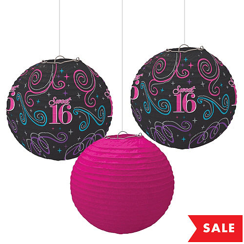 Celebrate Sweet 16 Paper Lanterns 3ct