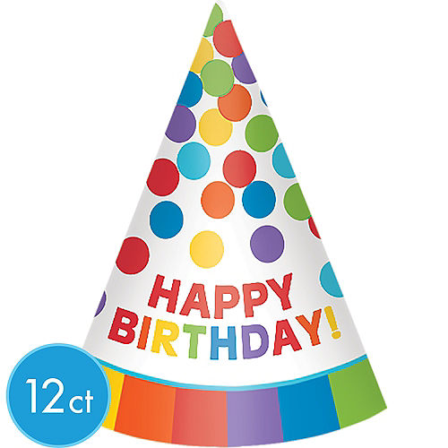 Rainbow Happy Birthday Party Hats 12ct