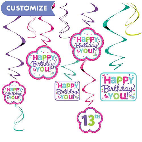 Purple Teal Pastel Birthday Swirl Decorations Kit
