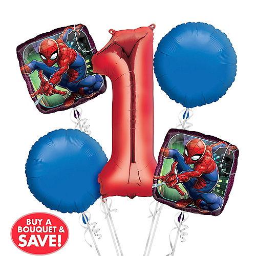 Spider Man 1st Birthday Balloon Bouquet 5pc