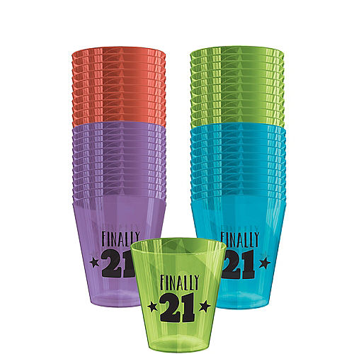 Jewel Tone 21st Birthday Shot Glasses 40ct