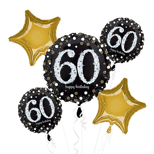 60th Birthday Balloon Bouquet 5pc