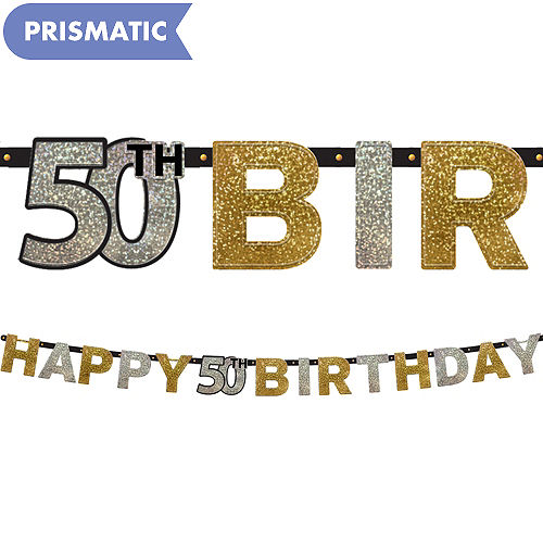 Prismatic 50th Birthday Banner