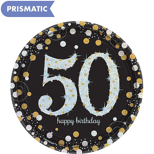 Prismatic 50th Birthday Dessert Plates 8ct