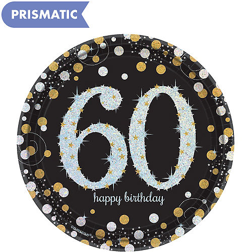 Prismatic 60th Birthday Dessert Plates 8ct