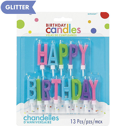 Multicolor Bright Happy Birthday Toothpick Candle Set 13pc