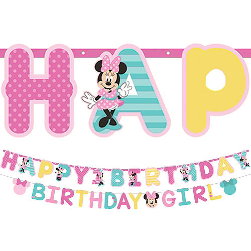 1st Birthday Minnie Mouse Letter Banner Kit 2pc