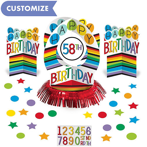 Rainbow Happy Birthday Table Decorating Kit 51pc