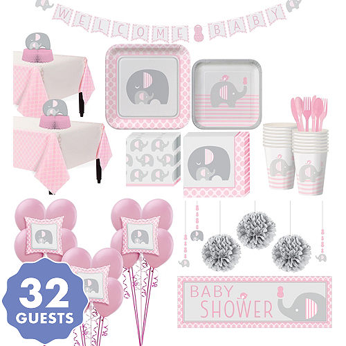 Pink Baby Elephant Premium Baby Shower Kit For 32 Guests Party
