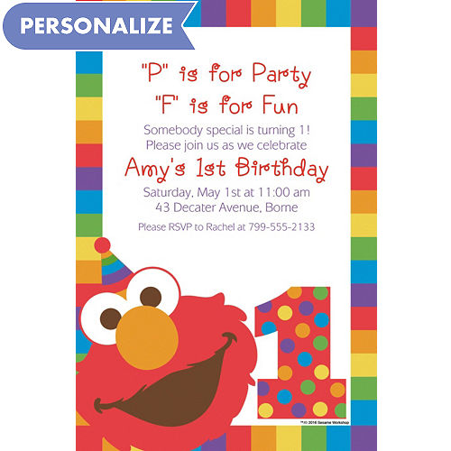 Custom Elmo 1st Birthday Invitation