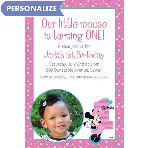 Custom Minnies 1st Birthday Photo Invitation