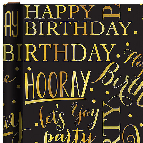Gold Elegant Birthday Gift Wrap