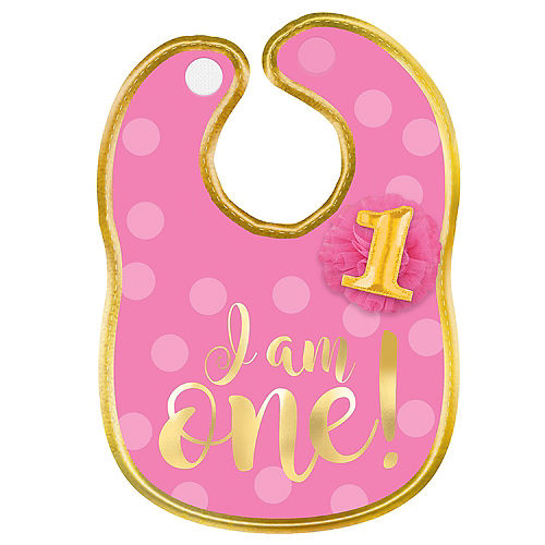 Pink Gold 1st Birthday Bib