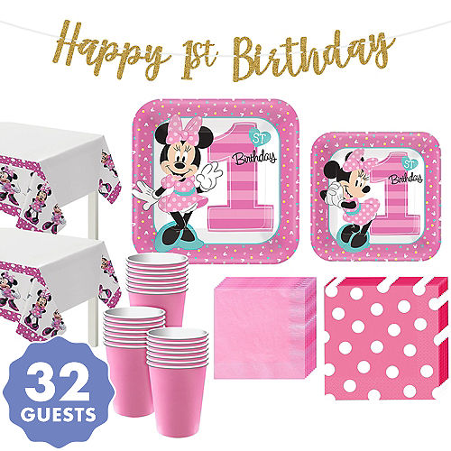1st Birthday Minnie Mouse Party Kit For 32 Guests