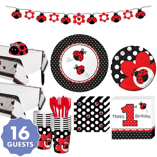Fancy Ladybug 1st Birthday Party Kit For 16 Guests