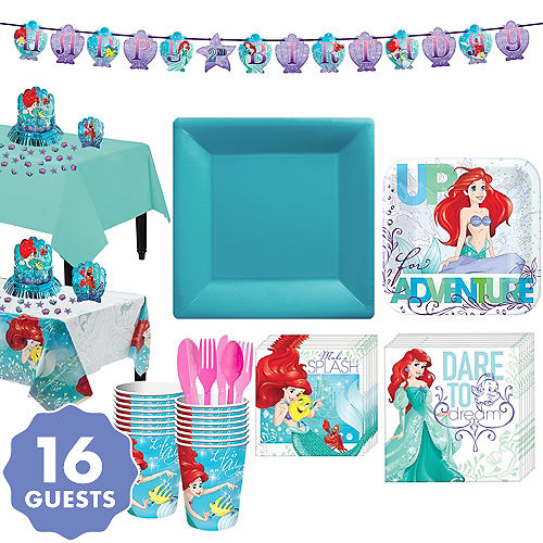 Disney Ariel Birthday Invitations Little Mermaid Tableware Party Kit For 16 Guests