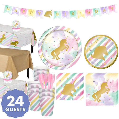 Sparkling Unicorn Tableware Party Kit For 24 Guests