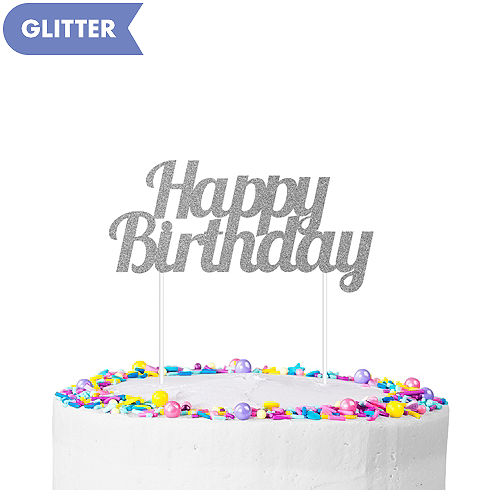 Silver Glitter Happy Birthday Cake Topper