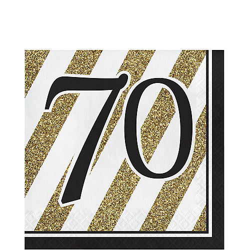 White Gold Striped 70 Lunch Napkins 16ct