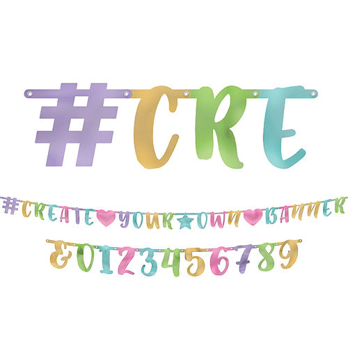 this metallic pastel letter banner kit includes cardstock cutouts in