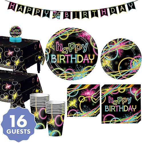 Neon Party Tableware Kit For 16 Guests