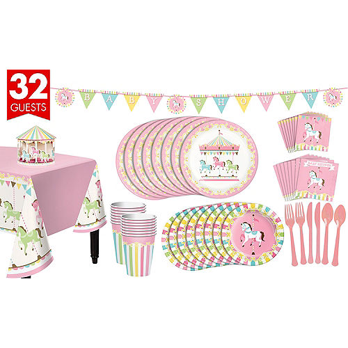 Pink Carousel Baby Shower Kit for 32 Guests