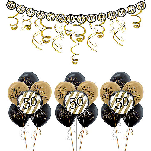 White Gold Striped 50th Birthday Decorating Kit With Balloons