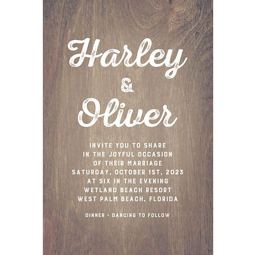 Custom wedding invitations banners party city custom sepia wood wedding invitation stopboris