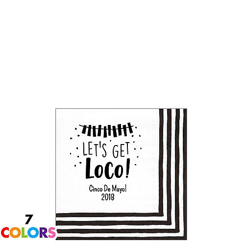 personalized cinco de mayo stripe border beverage napkins 5in x 5in