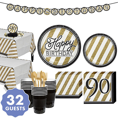 White Gold Striped 90th Birthday Party Kit For 32 Guests