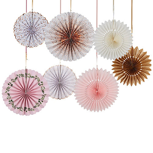 Wedding decorations wedding decor party city pink rose gold and white paper fan decorations 7ct junglespirit Image collections