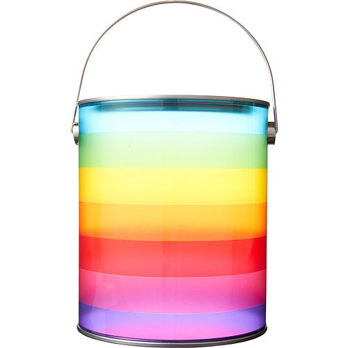 large rainbow striped plastic favor paint can