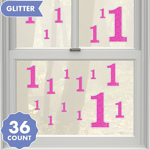 pink glitter number 1 cling decals 36ct