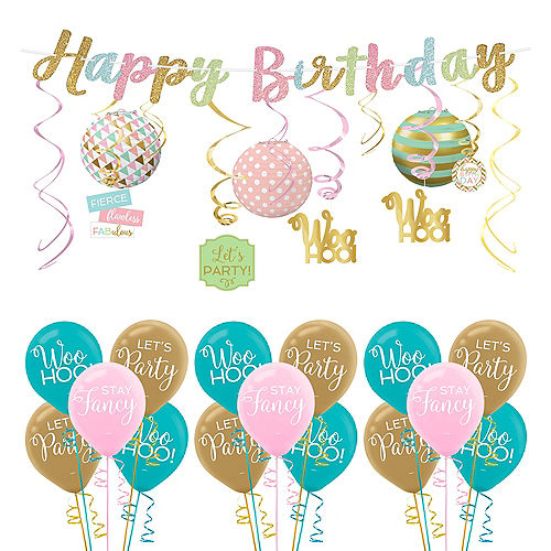 Confetti Fun Birthday Decorating Kit With Balloons