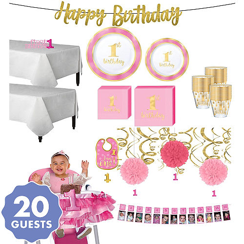 Pink Gold Premium 1st Birthday Deluxe Party Kit For 20 Guests